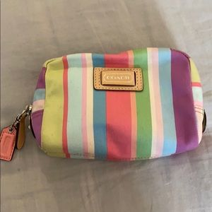 Coach striped cosmetic case